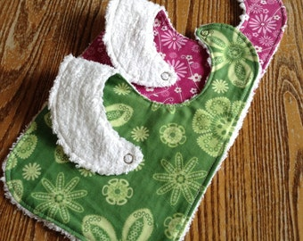 Set of 2 Beautiful Baby Girl Bibs, Chenille Back, Snap Closure