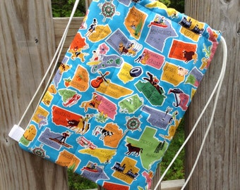 Quilted Backpack for Toddler Drawstring Closure, States, Travel, Road Trip, Vacation