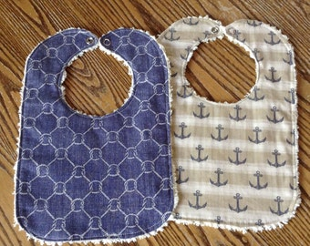Set of 2 Nautical Baby Bibs, Anchors and Knots, Chenille Back, Snap Closure