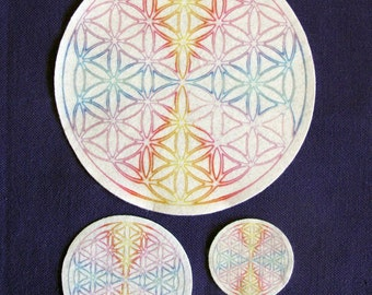 "Flower of Life White Chakra Altar Cloth, Crystal Grid ""Charger"""