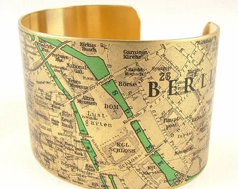 Vintage Berlin Germany Street Map Brass Cuff Bracelet - Travel Gifts - German Cartography Map Jewelry - Steampunk Style Cuff