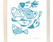 Teal Fish Screen Print 8.5x11in Illustration