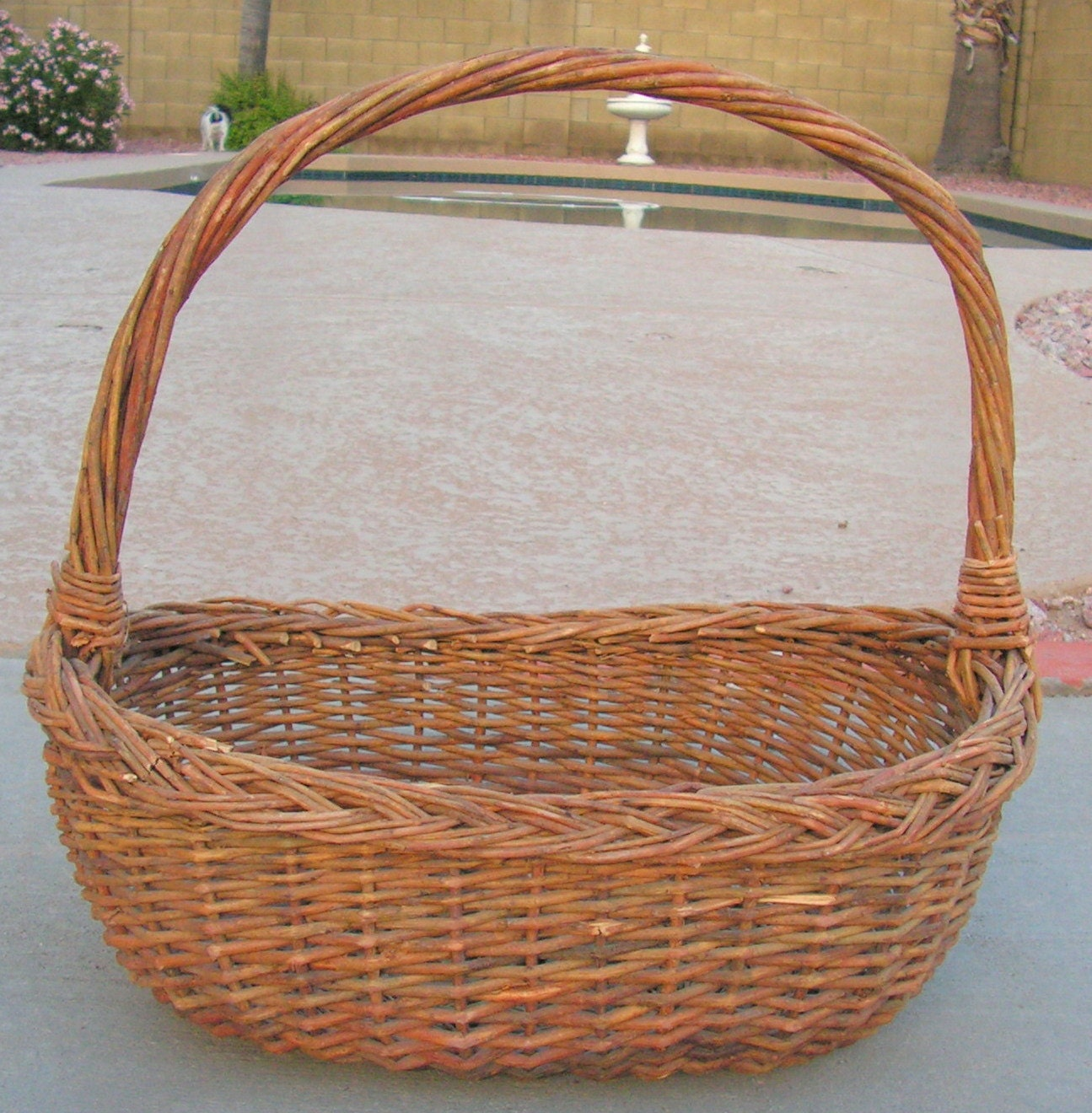 How To Weave A Basket Out Of Twigs : Vintage woven gathering basket twig with handle rustic