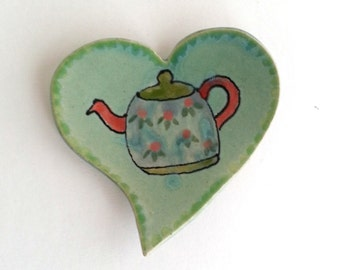 Tea Pot Dish - Tea Bag Holder - Heart Plate - Spoon Rest - Stoneware Pottery - Handpainted Plate -Gift for Tea Drinker