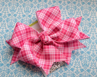 Mad For Plaid.....Hot Pink XL Diva Bow