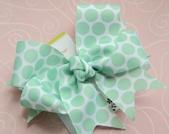 Mint Green Bubble Gum Dots XL Diva Bow