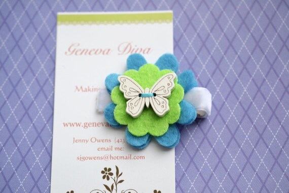 Turquoise and Lime Wooden Butterfly Stacked Felt Flower Hairclip