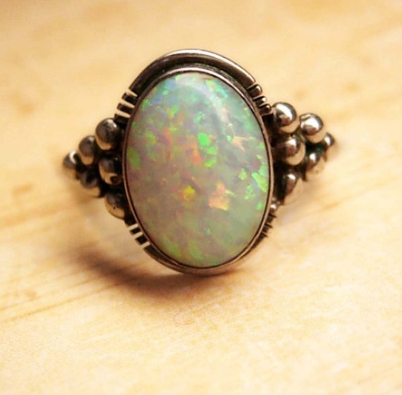 Reserved for Coll LARGE Stone Opal Modernist Ring Gorgeous colors size 7 3/4 vintage sterling silver jewelry