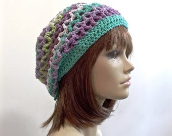 Lady Cadet - Adjustable Slouchy Beanie - Tie Behind Adjustment - Teal White Green Violet Lavender - 100 pct cotton yarn eco friendly