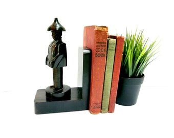 Asian Carved Wood Bookend 1960s Vintage Home Decor