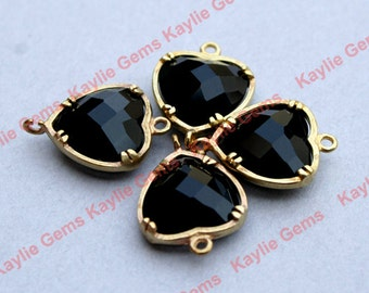 Jet Black Heart 12x16mm Connector Link Charm Faceted Glass Jewel Brass Setting, Hand Set by Me, Proudly Made in Virginia, USA - 2 pcs