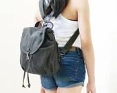 New Year SALE - 20% OFF Kinies Mini Backpack in Dark Gray / Sling Bag / Messenger / Barrel Bag / Rucksack / Kids / Women / For Her / Gift