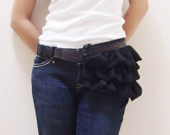 New Year SALE - 20% OFF Gathered Waist Purse in Pre-washed Black with Chiffon / Fanny Pack / Hip Bag / Pouch / Waist Belt / Women / For Her