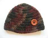 Ready To Ship - Brown Green Rust Crocheted Baby Boy Hat - Size 6 to 12 Months - Crocheted Beanie With Large Button - Crochet Baby Hat