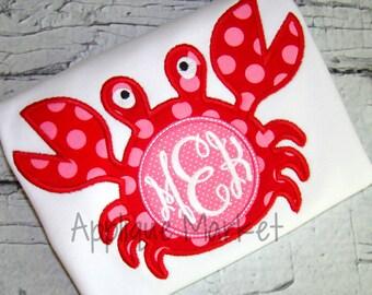 Machine Embroidery Design Applique Crab Monogram INSTANT DOWNLOAD