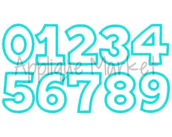 Machine Embroidery Design Applique Numbers 7 Sizes INSTANT DOWNLOAD