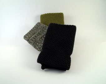 Dishcloths Knit in Cotton in Pesto, Black and Black/Pesto/White, Knit Wash Cloth, Washcloth, Dish Cloth