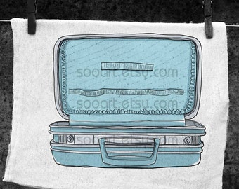 Empty blue suitcase vintage art  cute-Original Illustrate Drawing  A4 Print transfer on Pillows, t-shirts, scrapbook, lampshades  ETC.v