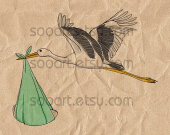 Stork with baby-green  -Digital Image Sheet -SooArt Original Illustrate Drawing  A4 Print on Pillows, t-shirts, scrapbook, lampshades  ETC.