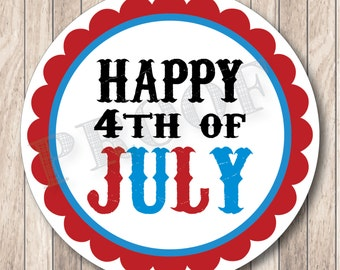 Instant Download . Printable  Happy 4th of July Tags, Printable July 4th Tags