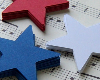 30 Die Cut Stars in Red, White & Blue . Star Tags 1.75""