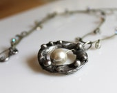 Sundance style silver and pearl pendant with knotted crystal and linen cord, handforged necklace, rustic necklace, urban boho
