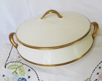 Empress Homer Laughlin 8 Inch Covered Vegetable Bowl Soup Tureen Lid Gold Edge Vintage Inspired Wedding