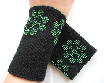Black traditional lithuanian hand knitted wrist warmers with beaded in green glass beads, flower pattern, arm warmers