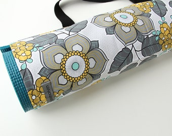 Yoga Mat Bag, Gray, Flowers, Yoga Mat Carrier, Gift for Her, Gift for Yogi
