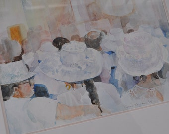 Church Hats Watercolor Painting
