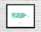 Puerto Rico Art Map Print.  Color Options and Size Options Available.  Map of Puerto Rico.