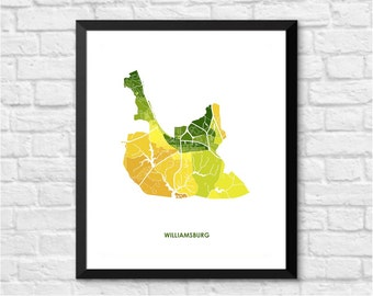 Williamsburg Map Print.  Choose your colors and Size.  Perfect wall art for the College of William & Mary Grad.