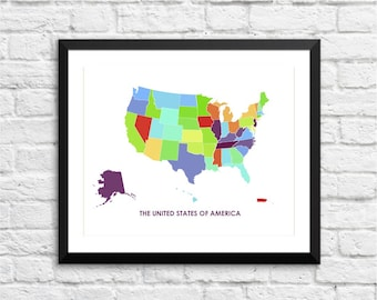 USA Art Map Print.  Color Options and Size Options Available.  Map of The United States of America.