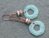 Earrings Copper with chevron glass beads