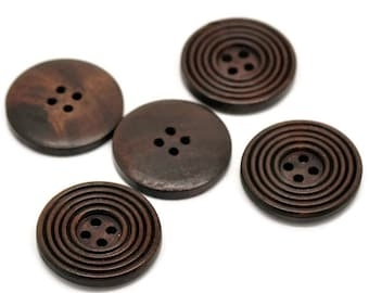 Dark coffee brown Wooden Sewing Buttons 30mm - set of 6 natural circle wood button  (BB132B)