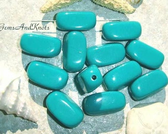 Vintage Turquoise Teal Rectangle Beads 17mm GK8288