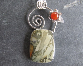 Necklace of Lahontonite, Carnelian, and Flower in Sterling Silver