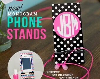 Monogrammed Personalized Cell Phone Stand Holder