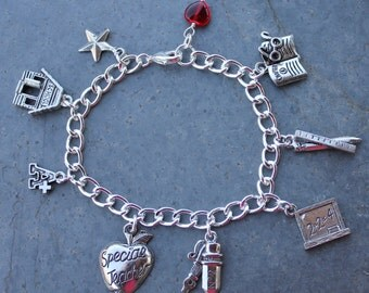 Special Teacher Charm Bracelet -school themed charms and red glass heart charm - or school colors crystals