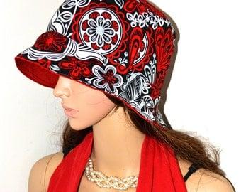Promotional sale price - Topsycurvydesigns Bucket hat / red Denim bucket hat / Reversible Bucket hat