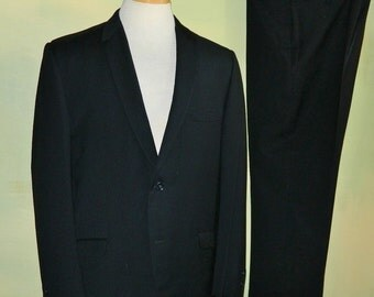 42  Vintage 50s Rounded Lapel Charcoal Black Suit Capps Clothes Wool Mad Men