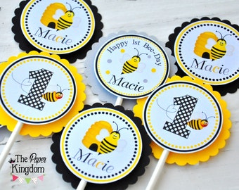Bumble Bee Cupcake Toppers- Bumble Bee Birthday Party - Set of 12