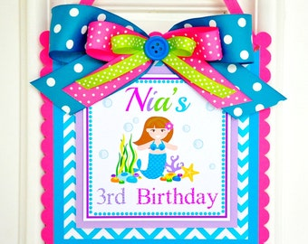 Mermaid Door Sign, Mermaid Door Hanger, Under the Sea, Mermaid Birthday Party Decorations