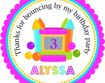 Bounce House Stickers, Bouncing Castle Labels, Personalized  Labels, Gift Tags - set of 12
