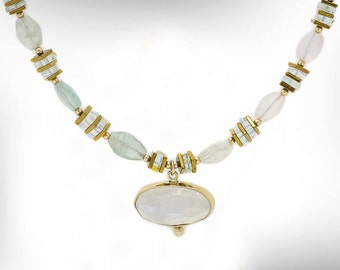 14K Gold Beaded Necklace, Moonstone & Aquamarine Pendant Necklace, June March Birthstone, Gold Charm Necklace, Gift for her, Free Shipping