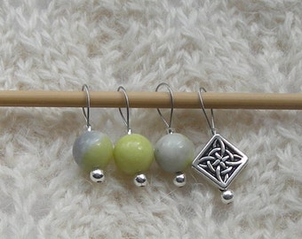 Peridot Jade - Knitting Stitch Markers - snag free loop markers - 8mm gemstones and silver  - set of 7 - three loop sizes available