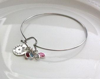 Bonus Mom Bracelet  - Bonus Mom Jewelry - Heart Bangle Bracelet - Mother's Day Gift - Personalized Mom Bracelet