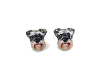 Miniature Schnauzer Dog  Stud Earrings / Schnauzer earrings / dog earrings / dog jewelry / pet jewelry / pet memorial / grey / A025ER-D08