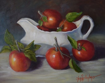 Red Apples And White Gravy Boat, Still Life Oil Painting, 16x20 Canvas Original by Cheri Wollenberg