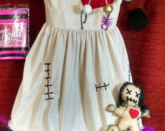 Voo Doo Doll costume, size 8/10, 4 piece set - dress, tights, suture choker, small doll on wristband